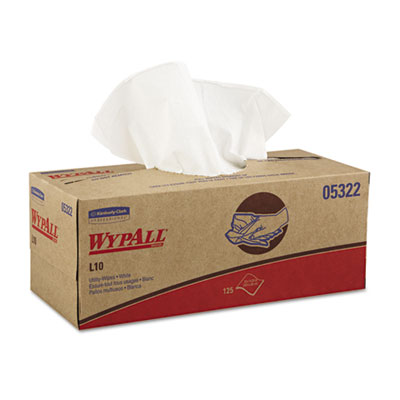 WYPALL L10 Utility Wipes, Box, 12 x 10 1/4, White, 125/Box, 18 B