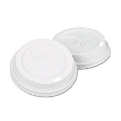 Dome Drink-Thru Lids, Fits 10, 12 & 16oz Paper Hot Cups, White,