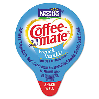 Liquid Coffee Creamer, Mini Cups, French Vanilla, 180/Box