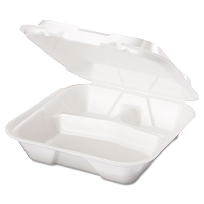 Snap It Foam Container, 3-Comp, 9 1/4 x 9 1/4 x 3, White, 100/Ba