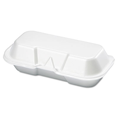 Foam Hot Dog Container, 7 3/8 x 3 9/16 x 2 1/4, White, 125/Bag,