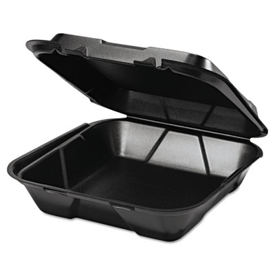 Snap It Foam Container, 1-Comp, 9 1/4 x 9 1/4 x 3, Black, 100/Ba