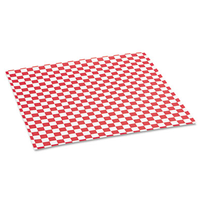 Grease-Resistant Paper Wrap/Liners, 12 x 12, Red Check, 1000/Box