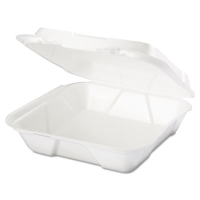Snap It Foam Container, 1-Comp, 9 1/4 x 9 1/4 x 3, White, 100/Ba