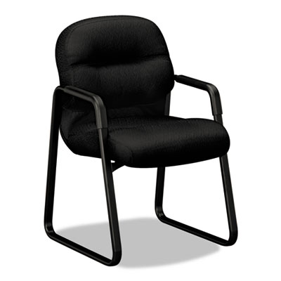 2090 Pillow-Soft Series Guest Arm Chair, Black Upholstery/Black