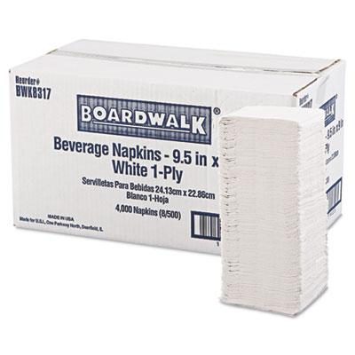 """Beverage Napkins, 1-Ply, 9 1/2"""" x 9"""", White, 4000/Carton"""