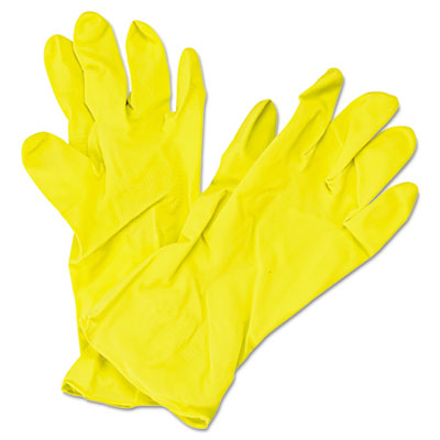 "Flock Lined Latex Gloves, Yellow, 12"" Length, Medium, 12 Pairs"