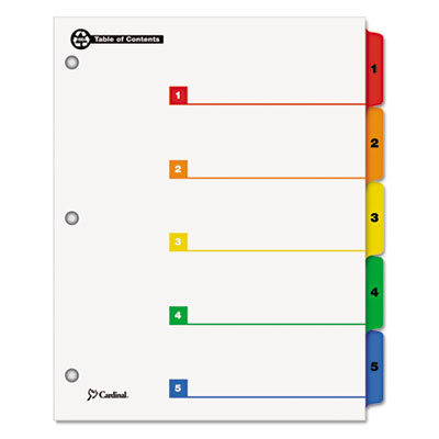 100% Recycled OneStep Index System, Multicolor 5-Tab, 11 x 8-1/2