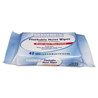 Flushable Moist Wipes, Refill, 7 x 5 1/4, Fresh Scent, 42/Pack,