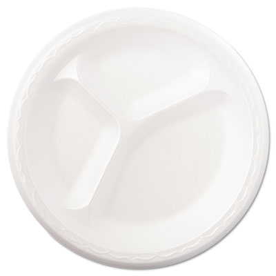 "Foam Dinnerware, Plate, 3-Comp, 8 7/8"" dia, White, 125/Pack, 4 P"