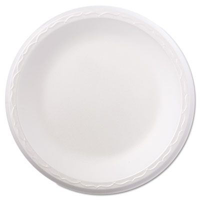 "Foam Dinnerware, Plate, 8 7/8"" dia, White, 125/Pack, 4 Packs/Car"