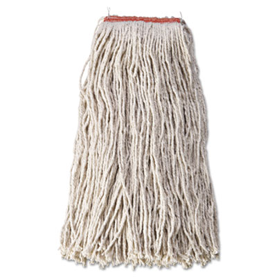 "Cotton/Synthetic Cut-End Blend Mop Head, 24oz, 1"" Band, White, 1"