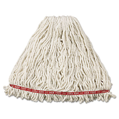 Web Foot Wet Mop Head, Shrinkless, Cotton/Synthetic, White, Larg