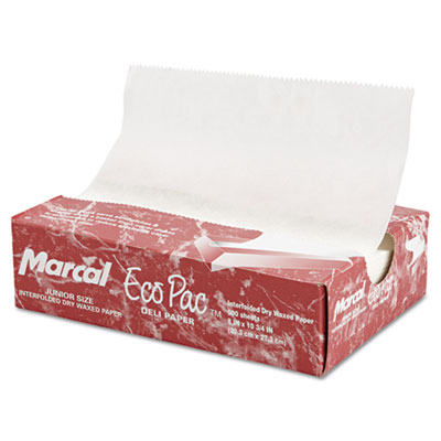 "Eco-Pac Natural Interfolded Dry Wax Paper, 8"" x 10.75"", 500/Box,"
