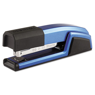 Antimicrobial Full Strip Metal Stapler, 25-Sheet Capacity, Blue