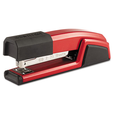 Antimicrobial Full Strip Metal Stapler, 25-Sheet Capacity, Red