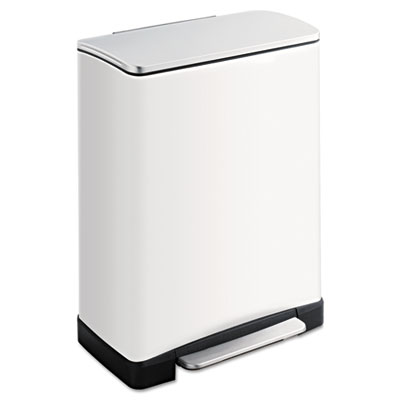 Square Step-On Cans, Steel, 13gal, White