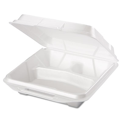 Foam Food Containers, 3-Comp, 9 1/4 x 9 1/4 x 3, White, 100/Bag,