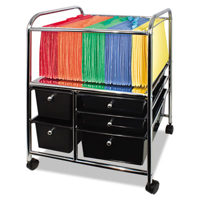 Letter/Legal File Cart w/Five Storage Drawers, 21-1/8 x 15-1/4 x
