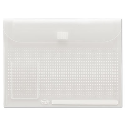 Self-Stick Notebook Pocket with Closure, 9 x 12, Clear Dots