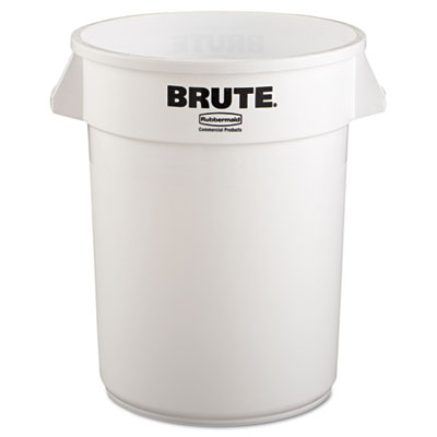 Brute Refuse Container, Round, Plastic, 32 gal, White
