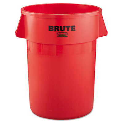 Brute Refuse Container, Round, Plastic, 44gal, Red
