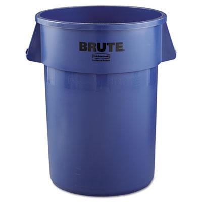 Brute Refuse Container, Round, Plastic, 44gal, Blue