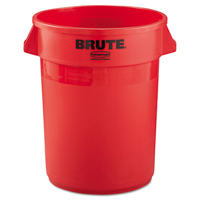 Brute Refuse Container, Round, Plastic, 32 gal, Red