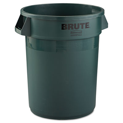 Brute Refuse Container, Round, Plastic, 32 gal, Dark Green