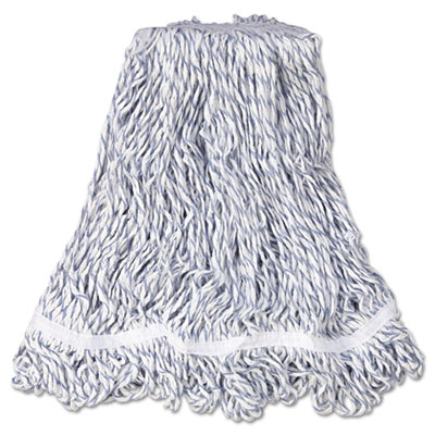 "Web Foot Finish Mop, White, Med, Cotton/Synthetic, 1"". White Hea"