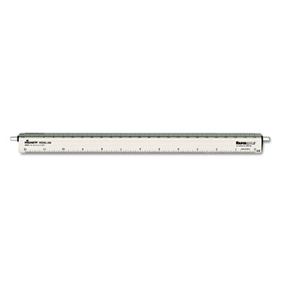 "Adjustable Triangular Scale Aluminum Architects Ruler, 12"", Silv"
