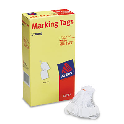 White Marking Tags, Paper, 1 3/32 x 3/4, White, 1,000/Box