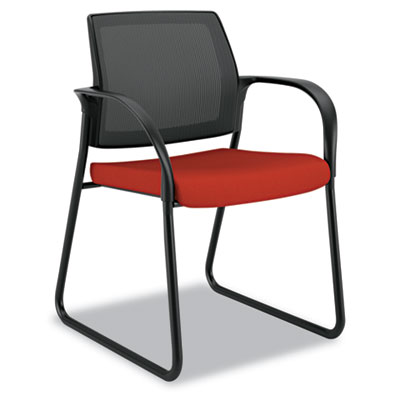 Ignition Series Seating Mesh Back Guest Chair, Sled Base,Poppy F