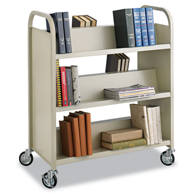 Steel Slant Shelf Book Cart, Six-Shelf, 36w x 18-1/2d x 43-1/2h,