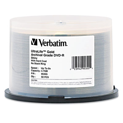 DVD-R Archival Grade Disc, 8x, Gold, 50/Pk