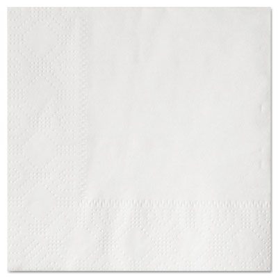"Beverage Napkins, Two-Ply 9 1/2"" x 9 1/2"", White, Embossed"