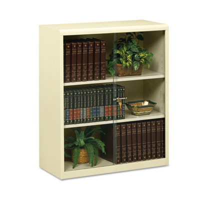 Executive Steel Bookcase With Glass Doors, Three-Shelf, 36w x 15