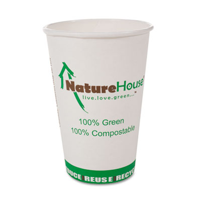 Compostable Paper/PLA Cup, 12oz, White, 50/Pack