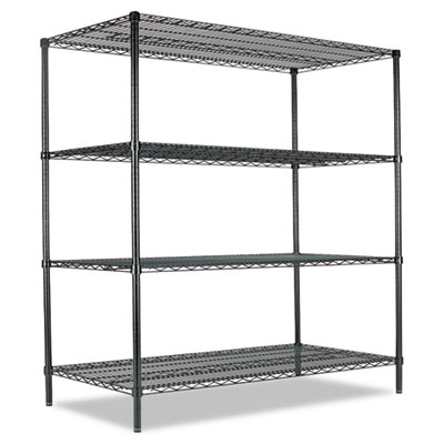All-Purpose Wire Shelving Starter Kit, Four-Shelf, 60w x 24d x 7