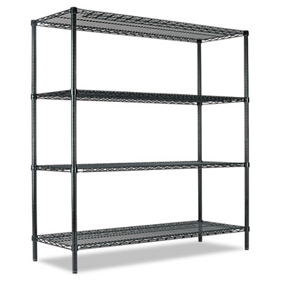 All-Purpose Wire Shelving Starter Kit, Four-Shelf, 60w x 18d x 7