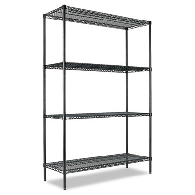 All-Purpose Wire Shelving Starter Kit, Four-Shelf, 48w x 18d x 7