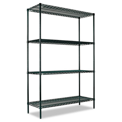 Alera All-Purpose Wire Shelving Starter Kit, 4 Shelves, 48w x 24d x 72h, Green at Sears.com