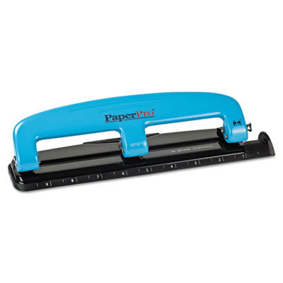 12-Sheet Capacity Compact Three-Hole Punch, Rubber Base, Blue/Bl