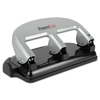 40-Sheet Traditional Three-Hole Punch, Rubber Base, Black/Silver