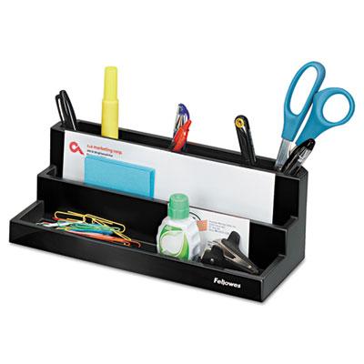 Designer Suites Desktop Organizer, 11 1/10 x 5 x 3 9/10, Black P