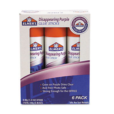 Disappearing Purple Glue Stick, Purple/Clear, 1.41 oz, 6/PK