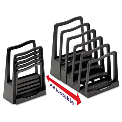 Adjustable File Rack, Five Sections, 8 x 10-3/4 x 11-3/4, Black