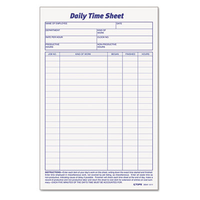Daily Time and Job Sheets, 8 1/2 x 5 1/2, 100/Pad, 2/Pack