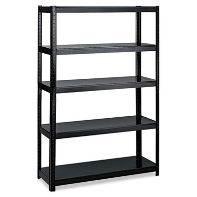 Boltless Steel Shelving, Five-Shelf, 48w x 24d x 72h, Black