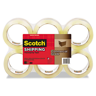 "3750 Commercial Grade Packaging Tape, 1.88"" x 54.6yds, Clear, 6/"